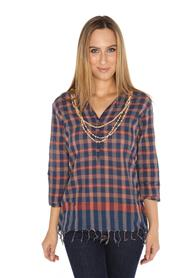 Checked Top With Fringed Hem